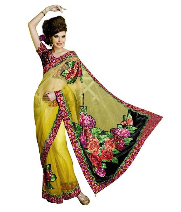 Dye Fab Yellow Net Saree