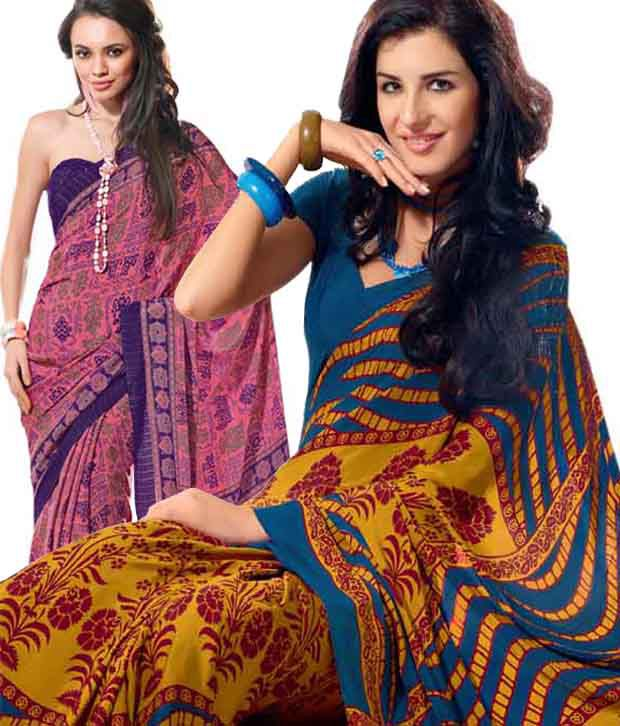 Prafful Pink & Blue-Yellow Printed Saree Combo With Unstitched Blouses