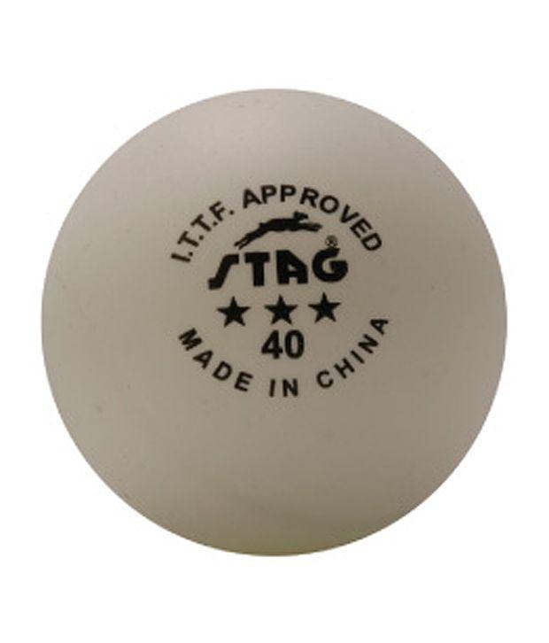 Stag Three Star TT Balls 40mm  ITTf Approved (96 Pcs)
