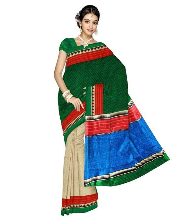 Unnati Silks White Block Printed Bhagalpuri Silk Saree
