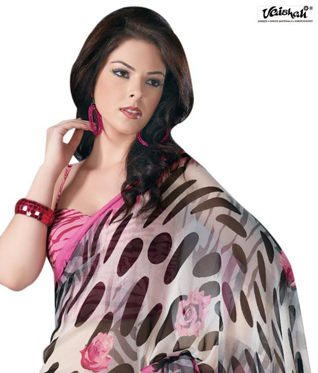 Vaishali  Pink & Black Georgette Saree(PrintedSaree-704)
