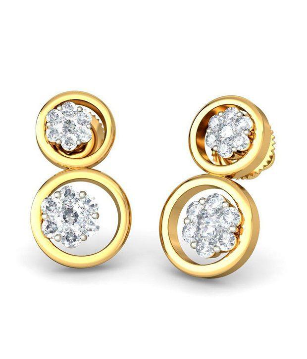 18Kt Hallmarked Gold & Certified  Dorita Earrings by Bluestone