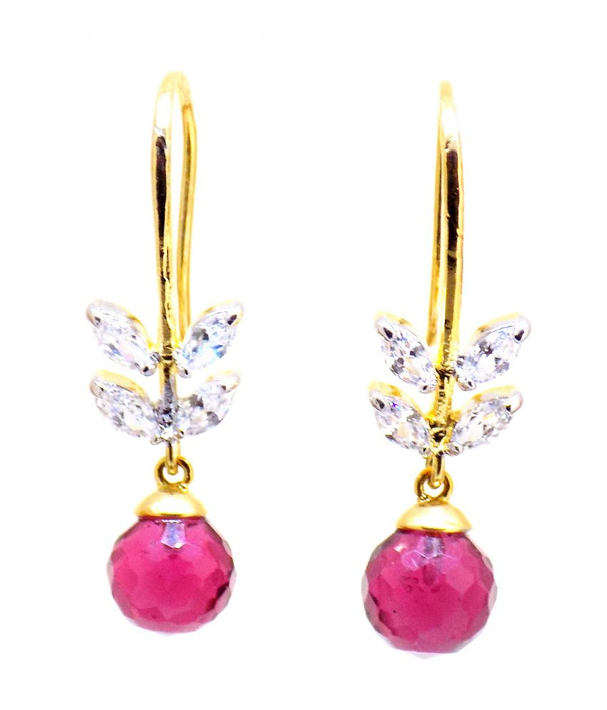 Aabhushan Jewels Purple Stone Look American Diamond/ Cz Gold Plated Earring For Women