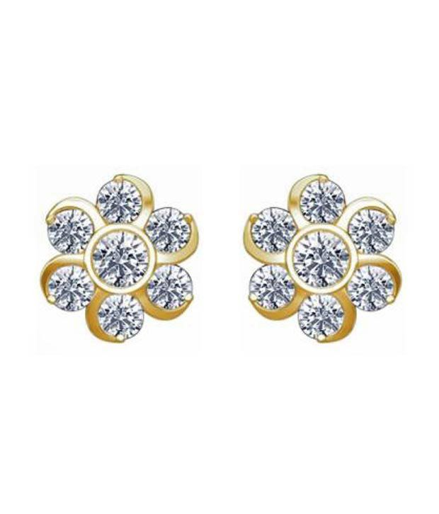 Avsar Gold Diamond Traditional Nakshatra Earrings With Free 3 Gm Silver Coin