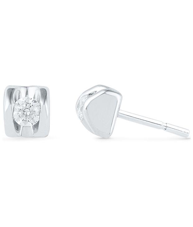 Caratlane Caryln 92.5 Silver Certified, Real DiamondEarring
