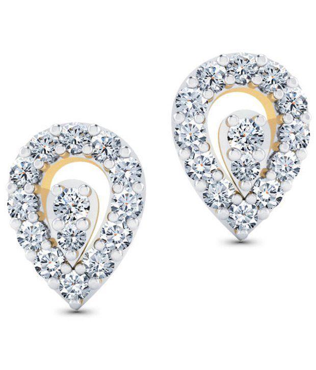 Caratlane Dewdrops 18 Kt Certified, Real Diamond & Hallmarked Gold Earring