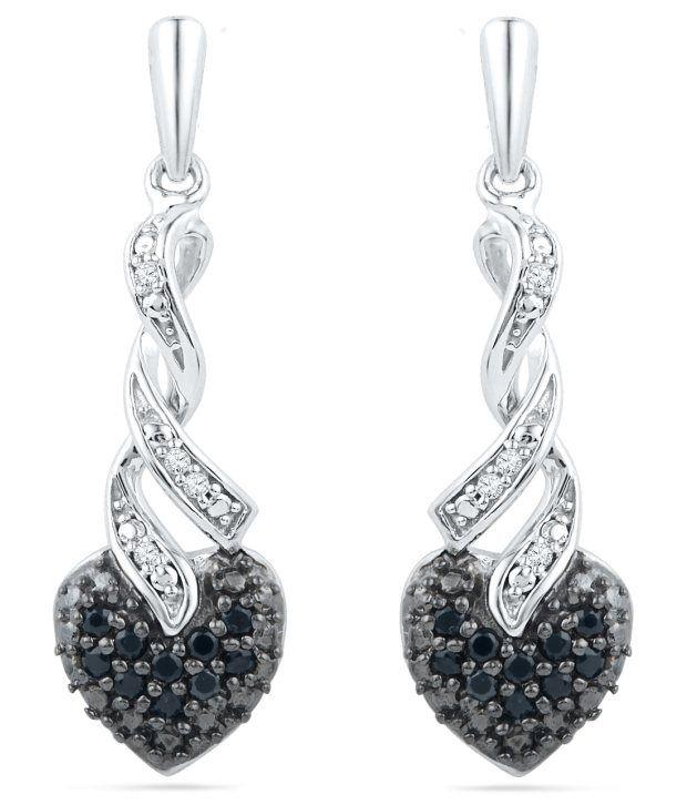 Caratlane Lovelake 92.5 Silver Certified, Real Diamond & GemstoneEarring