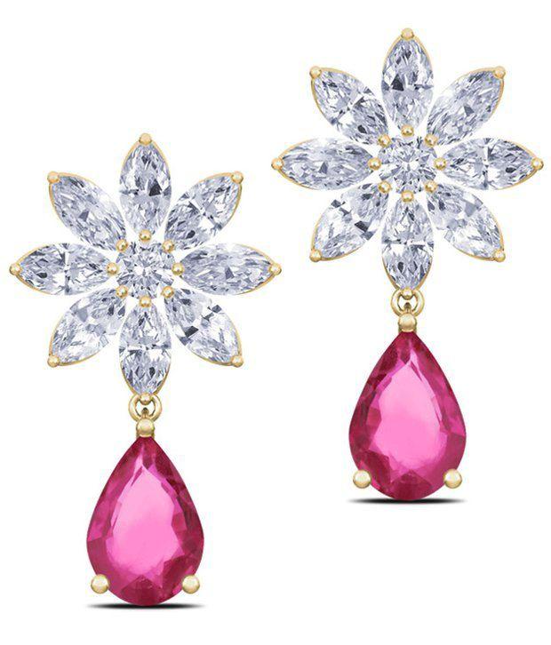 Caratlane Nakshatra Ruby 18 Kt Certified Real Diamond Gemstone Hallmarked Gold Earring