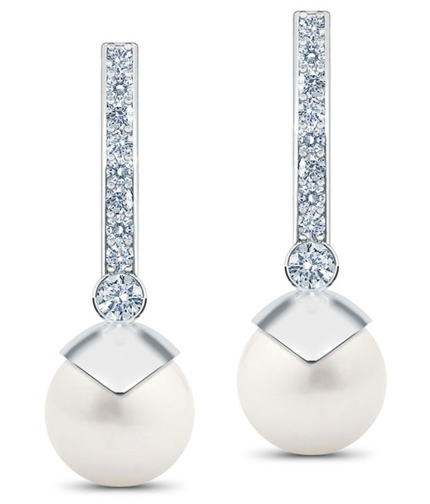Caratlane Triumph Pearl Drop 18 Kt Certified, Real Diamond & Gemstone & Hallmarked Gold Earring