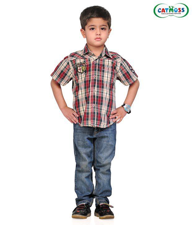 Catmoss Red & Grey Checks Shirt For Kids