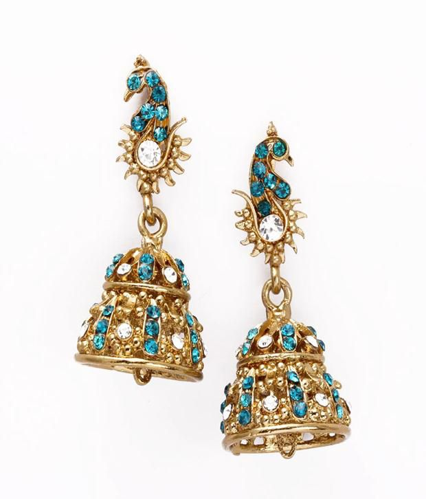 Khoobsurati Bell Styled Beautiful Jhumkas Blue