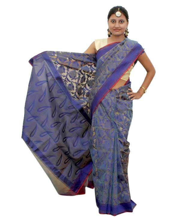 Raghvi Blue Banarsi Cora Silk Saree