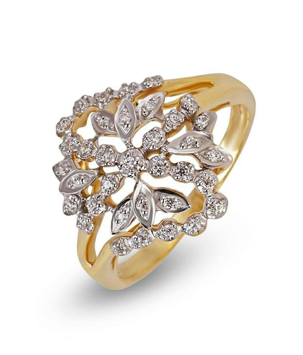 Shashvat Jewels Silver Women's Floral Diamond Ring