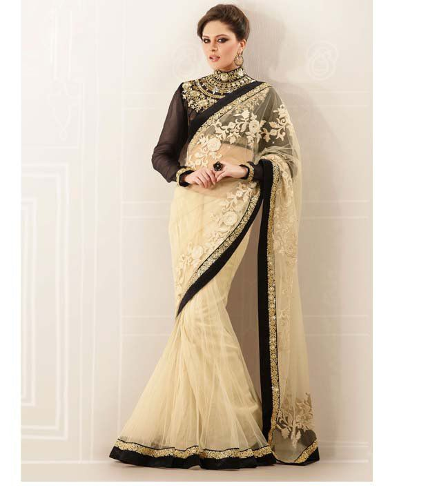 Stylelok Cream Net Embroidered Saree Buy Stylelok Cream Net