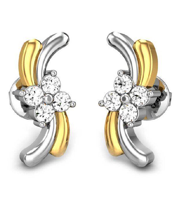 candere 18Kt Hallmarked Gold & Diamond Malvika Diamond Earrings