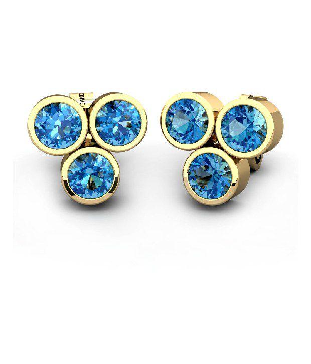 candere 18Kt Hallmarked Gold & Diamond The Trayo Diamond Earring