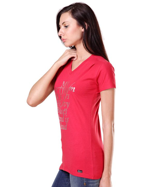 Aiva Beautiful Coral Red Printed T-Shirt