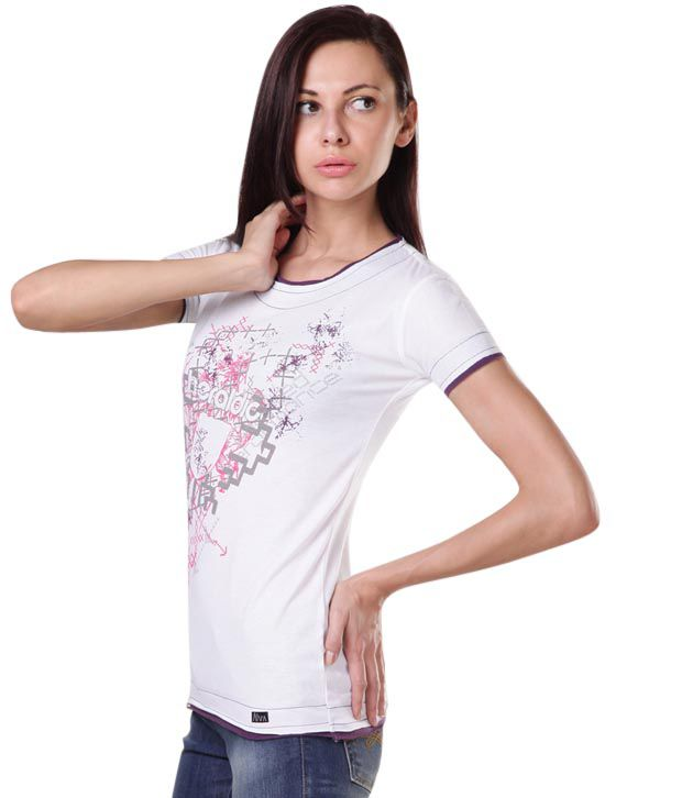 Aiva Sober White Printed T-Shirt