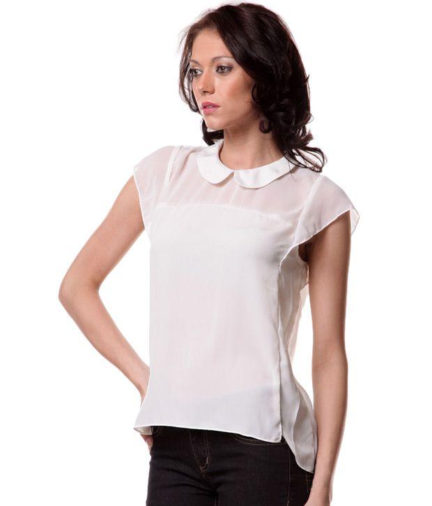 Aiva White Peter Pan Collar Shirt