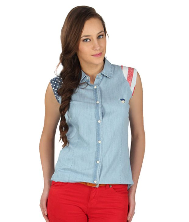 American Swan Blue Cotton Shirts