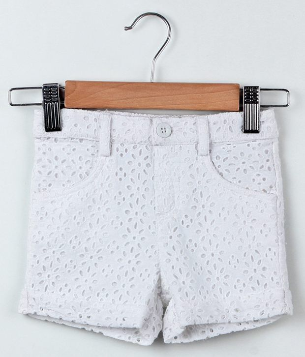 Beebay White Color Schiffle Embroidered Shorts For Kids