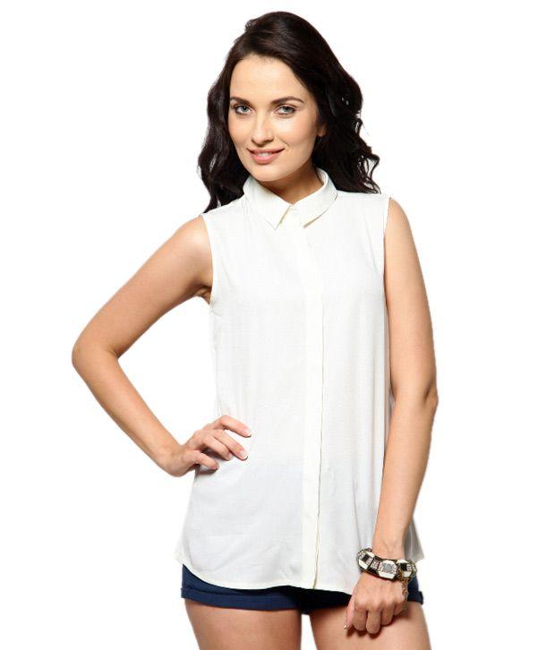 Besiva White Poly Crepe Shirts