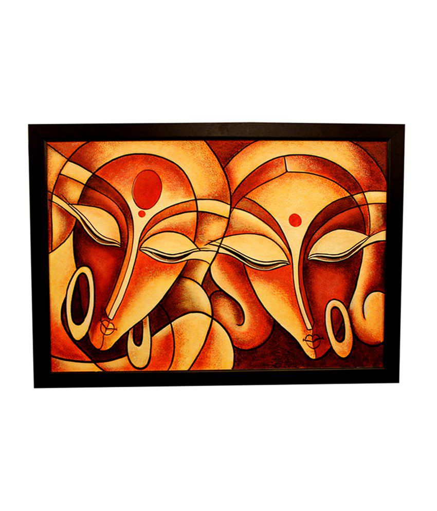 Invogue Oil Paint Orange And Black Canvas And Wood Abstract