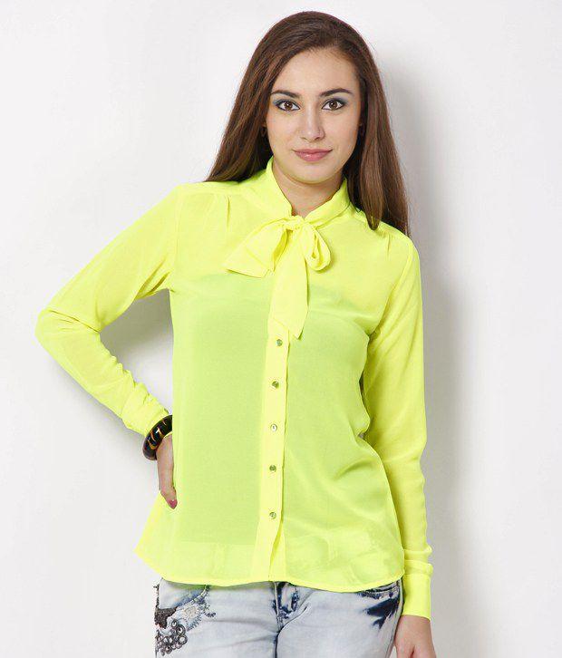 Lavennder Neon Yellow Poly Georgette Shirt