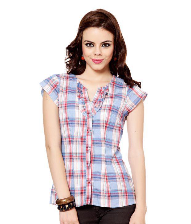 Osia Italia Blue Checkered Print Poly Cotton Shirt