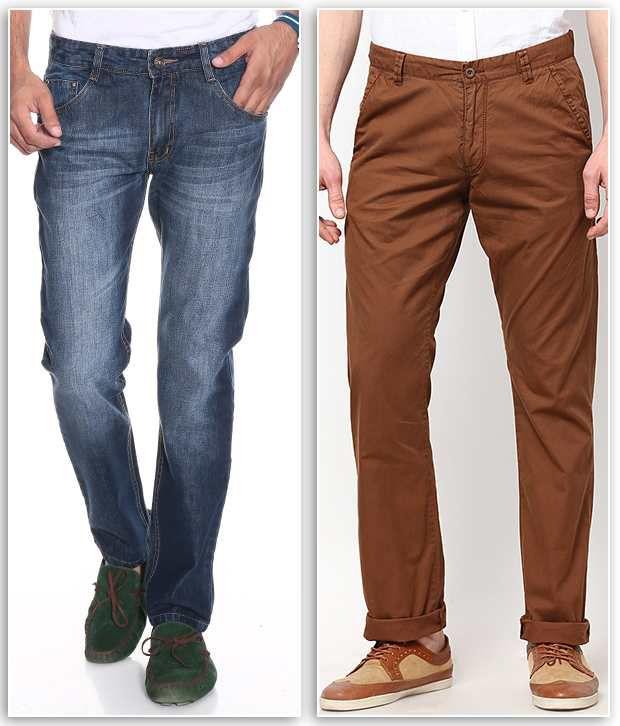 PHOENIX Pack of Trendy Blue Jeans & Brown Regular Casual Chinos