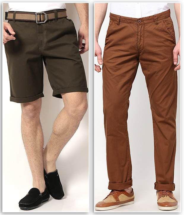 PHOENIX Green Cotton Solids Shorts