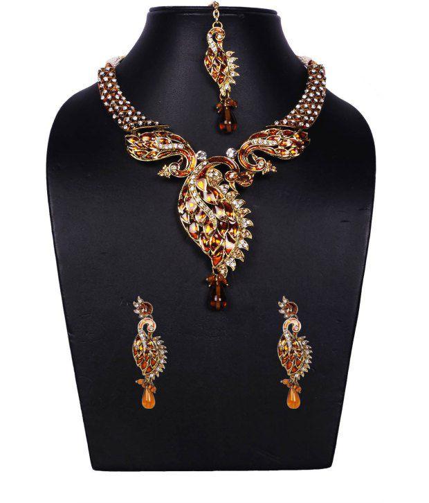 Voylla Beautiful American Diamond Peacock Jewellery Set With Minakari Work