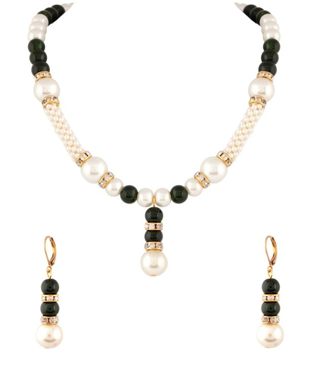 Voylla Elegant Pearl And Green Beaded Necklace Set