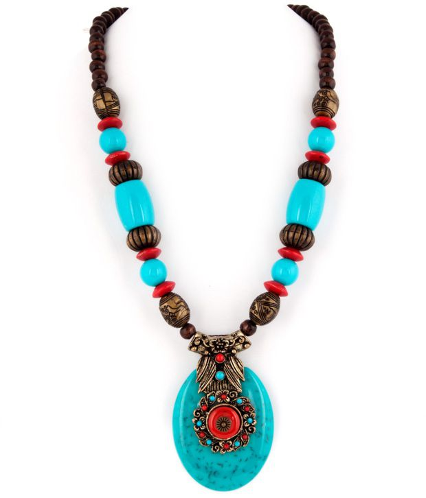 Voylla Gorgeous Bead Necklace With Oval Turquoise Pendant