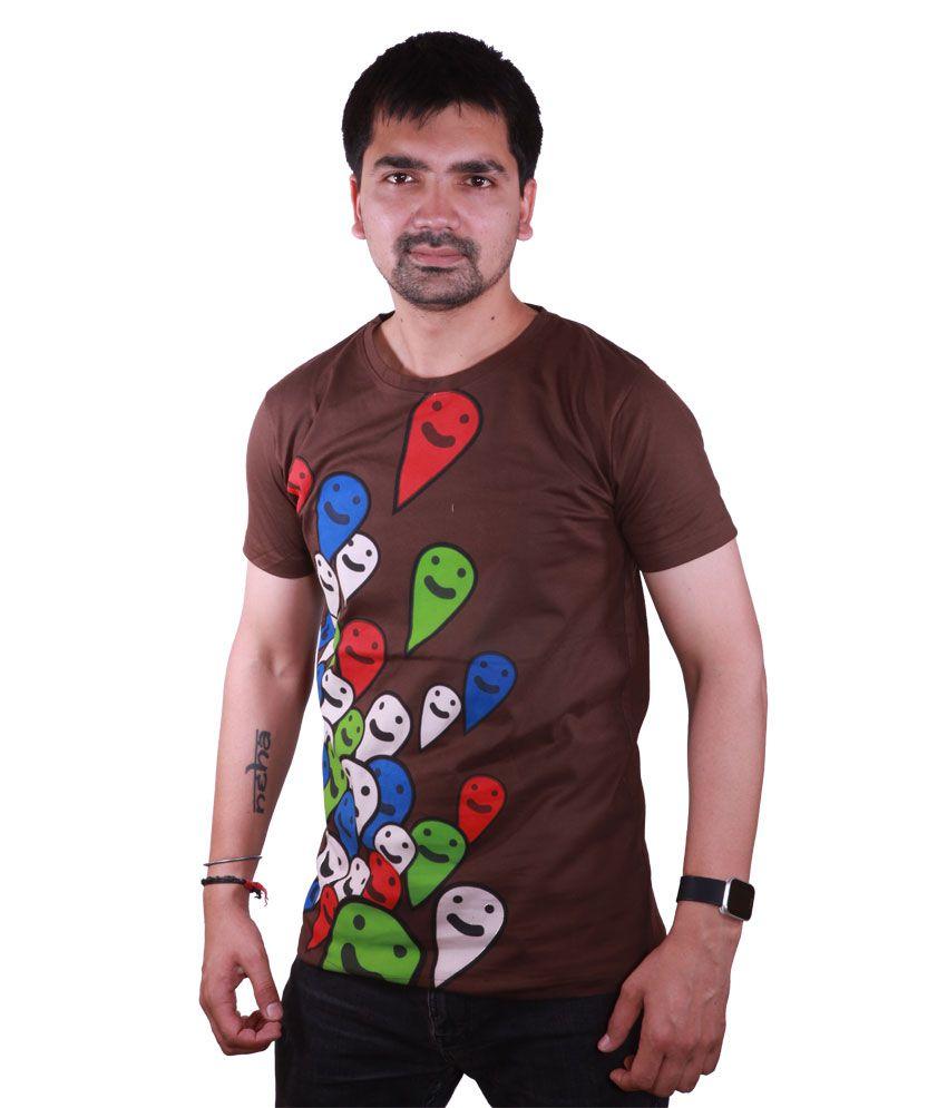 SAT Brown Half Cotton Round T-Shirt