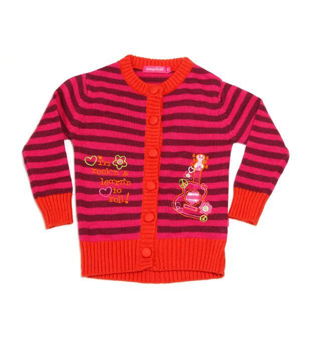 Wingsfield Dark Pink Striped Cardigan For Infant Girls