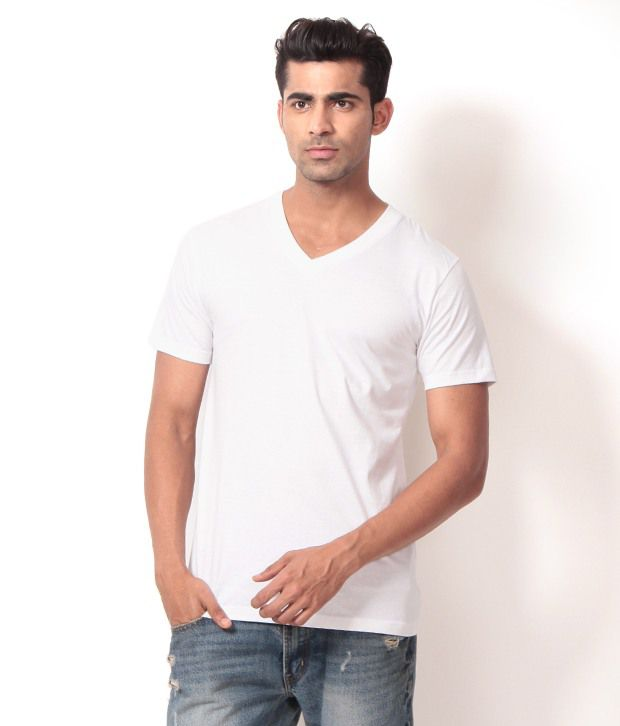 French CountyWash with Similar colors Half Cotton V-Neck  T-Shirt