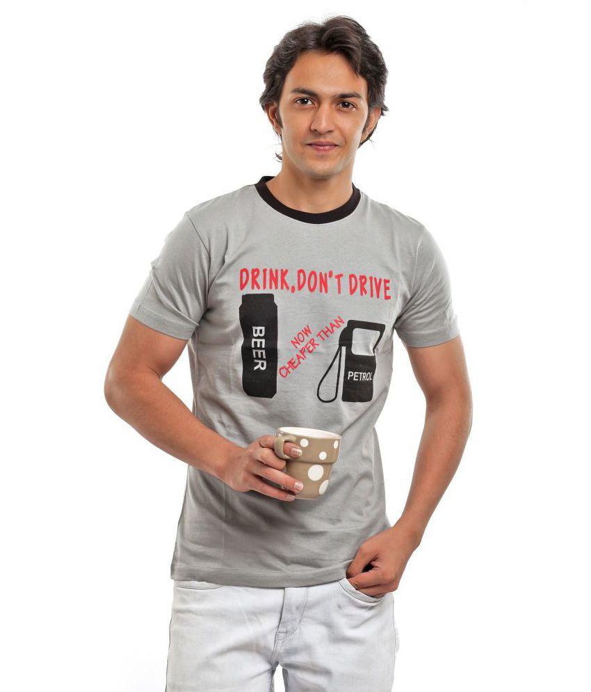 Biker Gang Gray Half Cotton Round  T-Shirt
