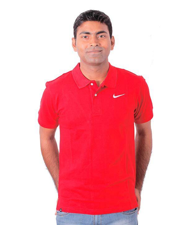 Nike Red Half Polo T-Shirt