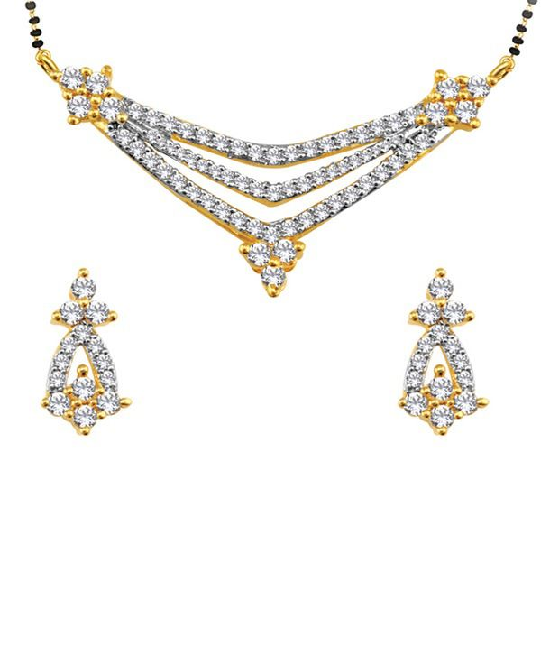 Spargz Beautiful Stone Studded Mangalsutra Pendent With Gold Finish And Matching Earrings SMS 036