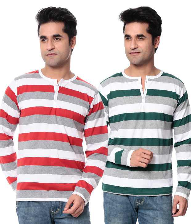Leana Green-Red Stripe Pack Of 2 Henley Tshirts