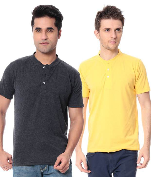 Leana Dark Grey-Yellow Pack Of 2 Half Henley Tshirts