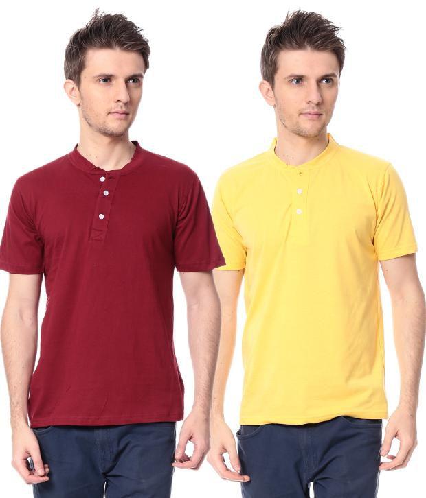Leana Mahroon-Yellow  Pack Of 2 Half Henley Tshirts