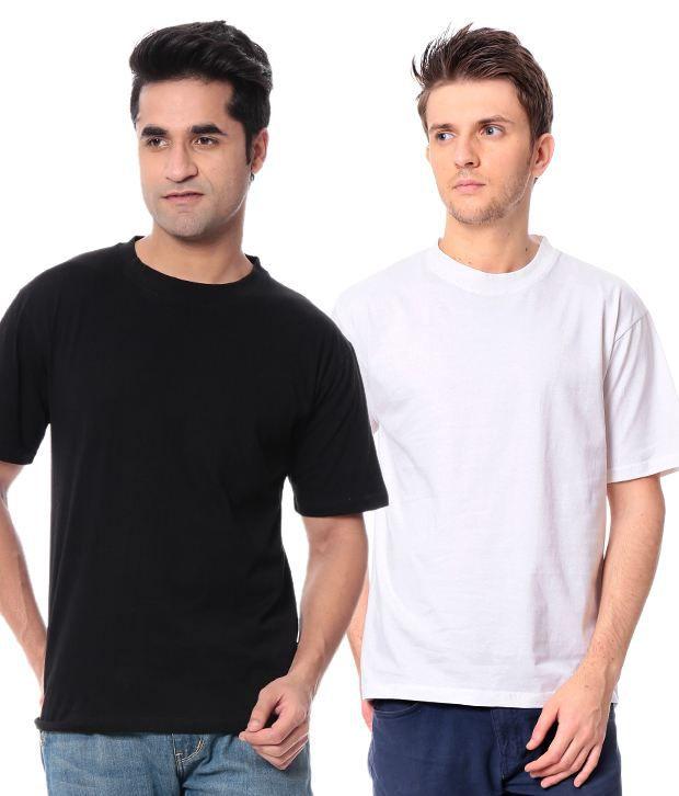 Leana Black-White Pack Of 2 Round Neck T Shirts
