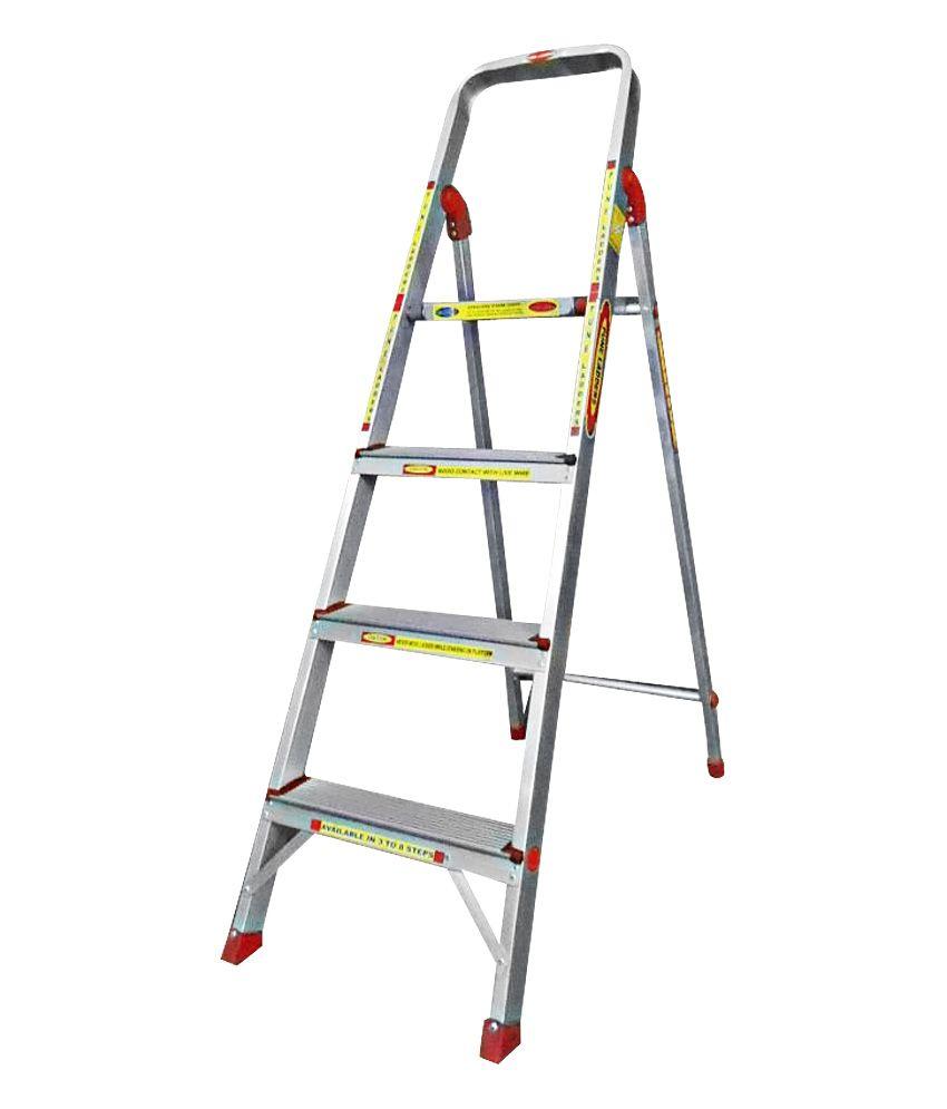 pune ladders silver aluminium 3 step ladder