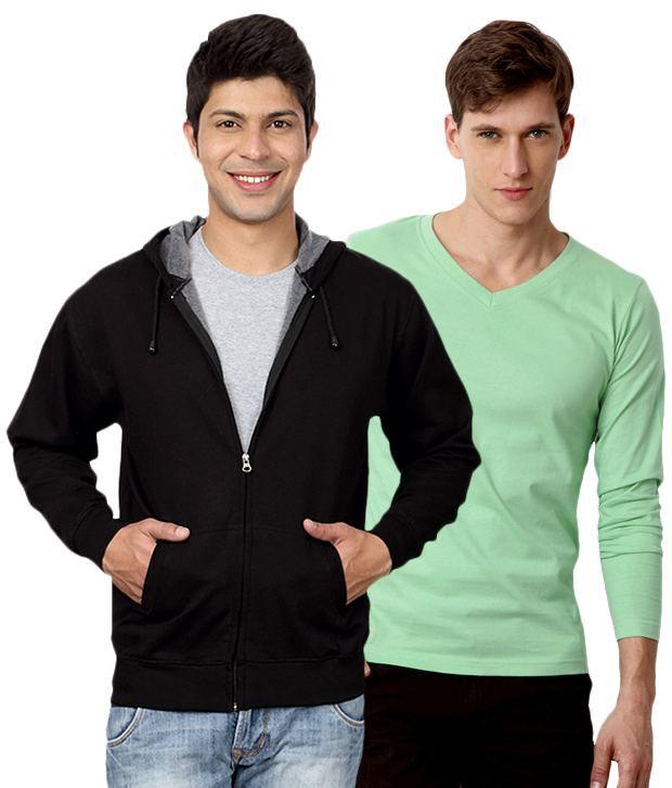 Street Junkies Green Full Combo Of 1 T Shirt And 1 Hooded Sweatshirt Cotton V-Neck  T-Shirt