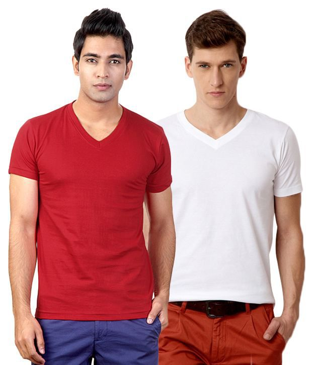 Street Junkies Red White Half Combo Of 2 T Shirts Cotton V-Neck  T-Shirt