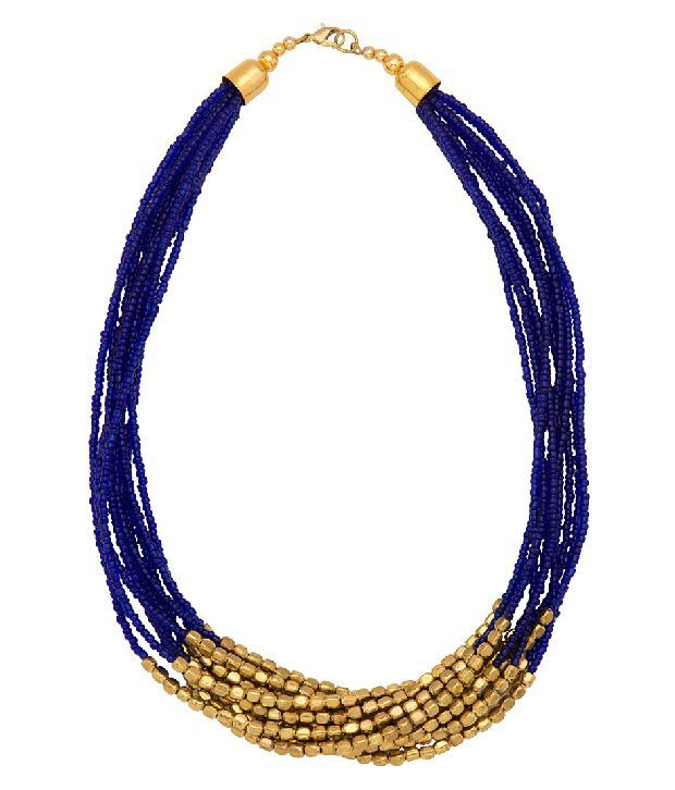 Voylla Beaded Necklace Featuring Multilayers of Golden, Dark Blue Beads