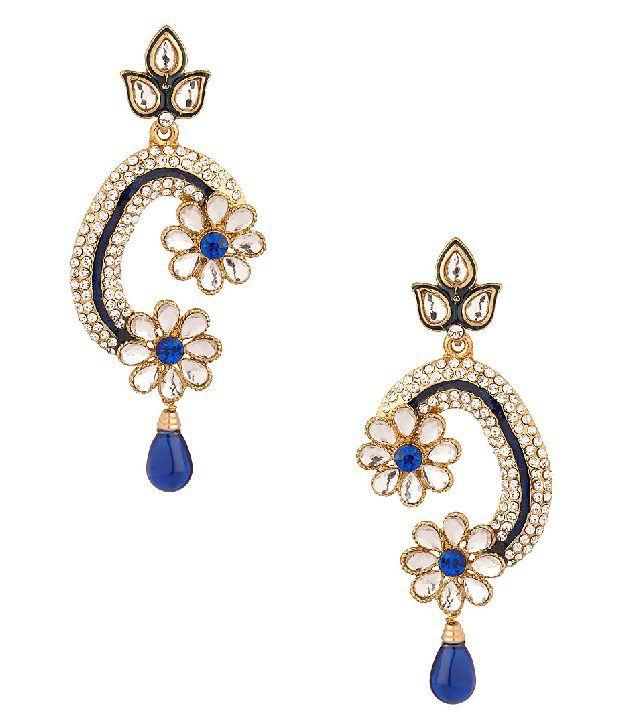 Voylla Dangler Earrings Featuring Twin Daisy Flowers, Blue Drop