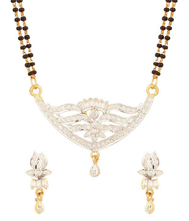 Voylla Floral Crown Mangalsutra Set With Double Chain, Gold Plating